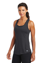 "Load image into Gallery viewer, OGIO® ENDURANCE Ladies Racerback Pulse Tank  Black with ""Pickleball"" written in Crystal Rhinestones"