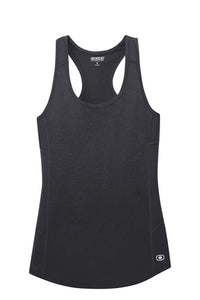 "OGIO® ENDURANCE Ladies Racerback Pulse Tank  Black with ""Pickleball"" written in Crystal Rhinestones"