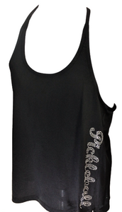 "OGIE- Ladies T-Back Racer- Black  with ""Pickleball"" written in Crystal Rhinestones"