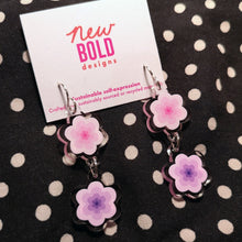 Load image into Gallery viewer, Pink and purple flower earrings. Made from recycled acrylic with sterling silver hooks.