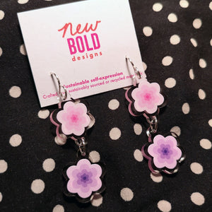 Pink and purple flower earrings. Made from recycled acrylic with sterling silver hooks.