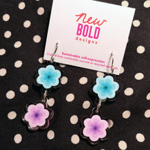 Load image into Gallery viewer, Mint and purple flower earrings. Made from recycled acrylic with sterling silver hooks.