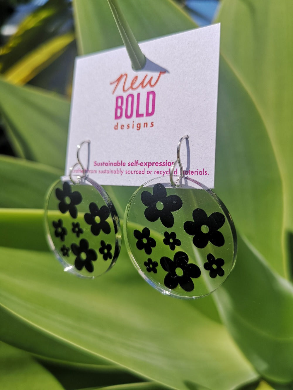 Black Flower Power dangles - recycled acrylic earrings