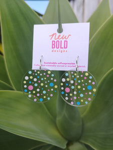 Confetti dangles - recycled acrylic earrings