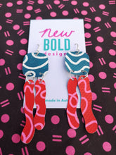 Load image into Gallery viewer, Dark teal, white, red and pink statement earrings. Made in New Zealand by New Bold Designs.