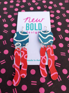 Dark teal, white, red and pink statement earrings. Made in New Zealand by New Bold Designs.