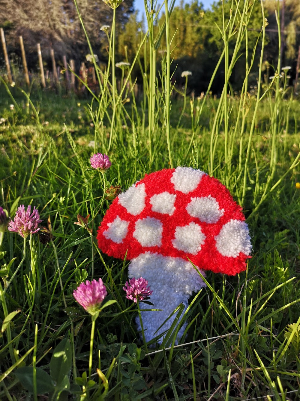 Tufted toadstool wall hanging
