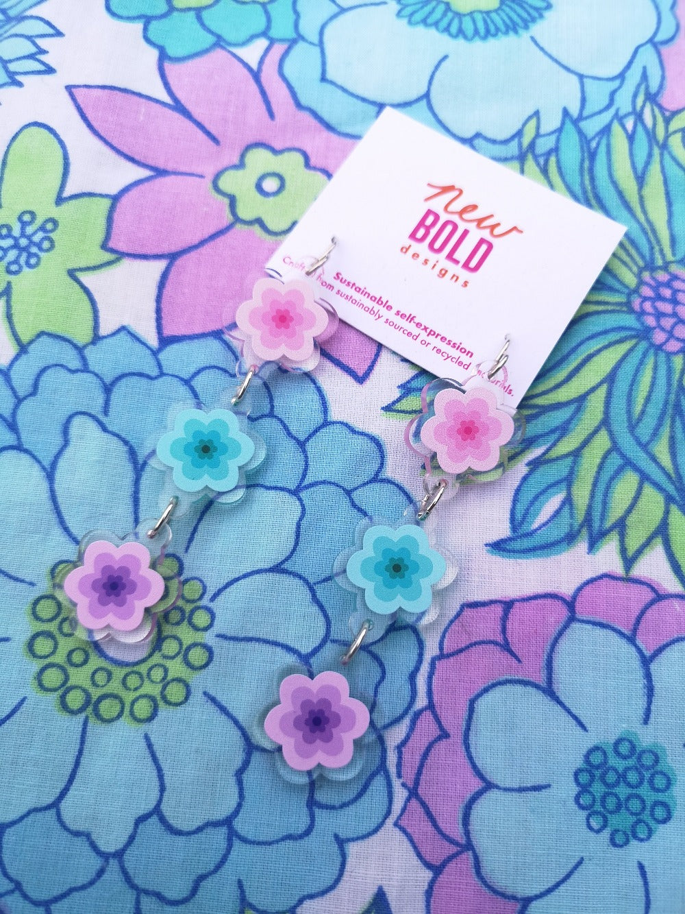 Riley dangles (3 flowers) - recycled acrylic dangles