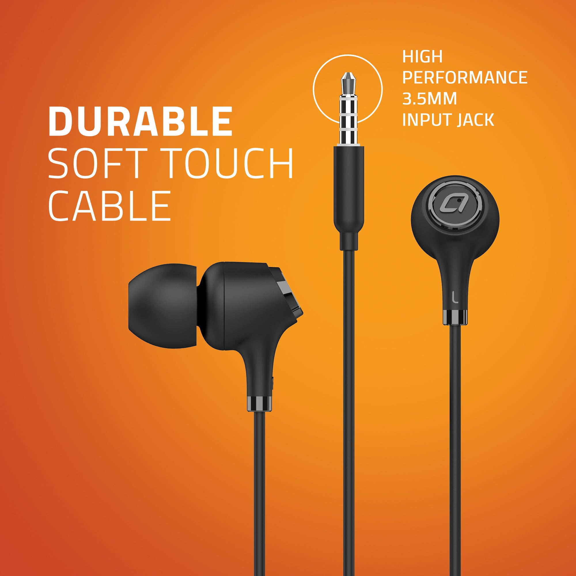 E500M Artis Wired Earphones - Durable Soft touch Cable