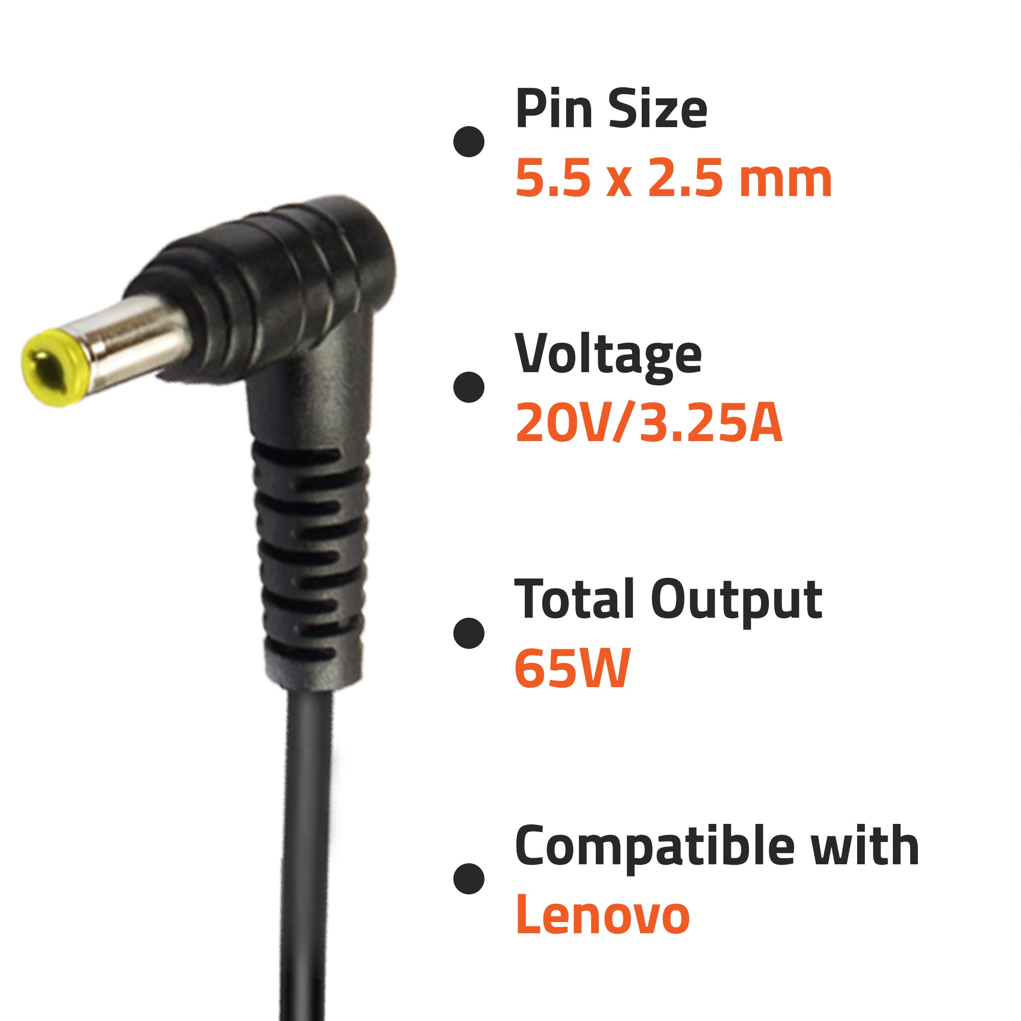 Artis 65W Lenovo Compatible Laptop Adopter with Power Cord (20V/3.25A, 65Watt) (Pin Size: 5.5mm x 2.5mm) (BIS Certified)