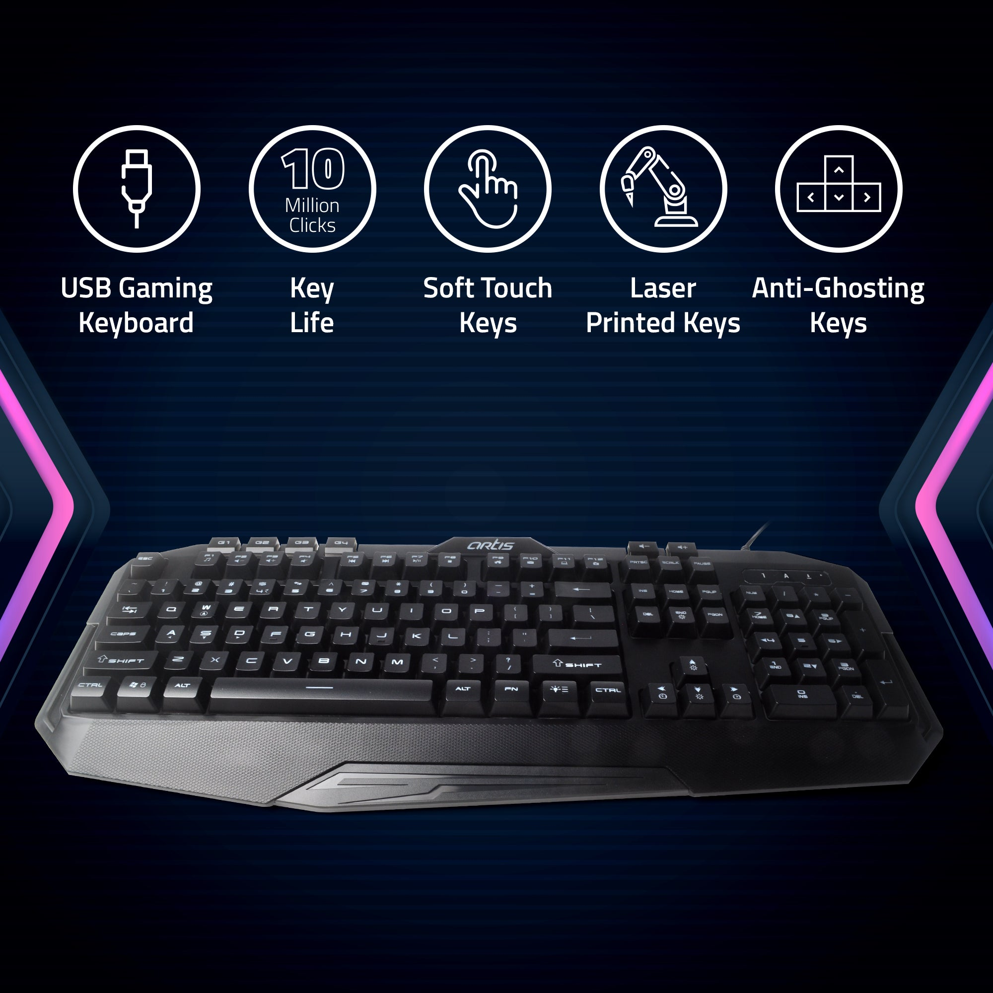 BLAZE Wired Backlit USB Gaming Keyboard