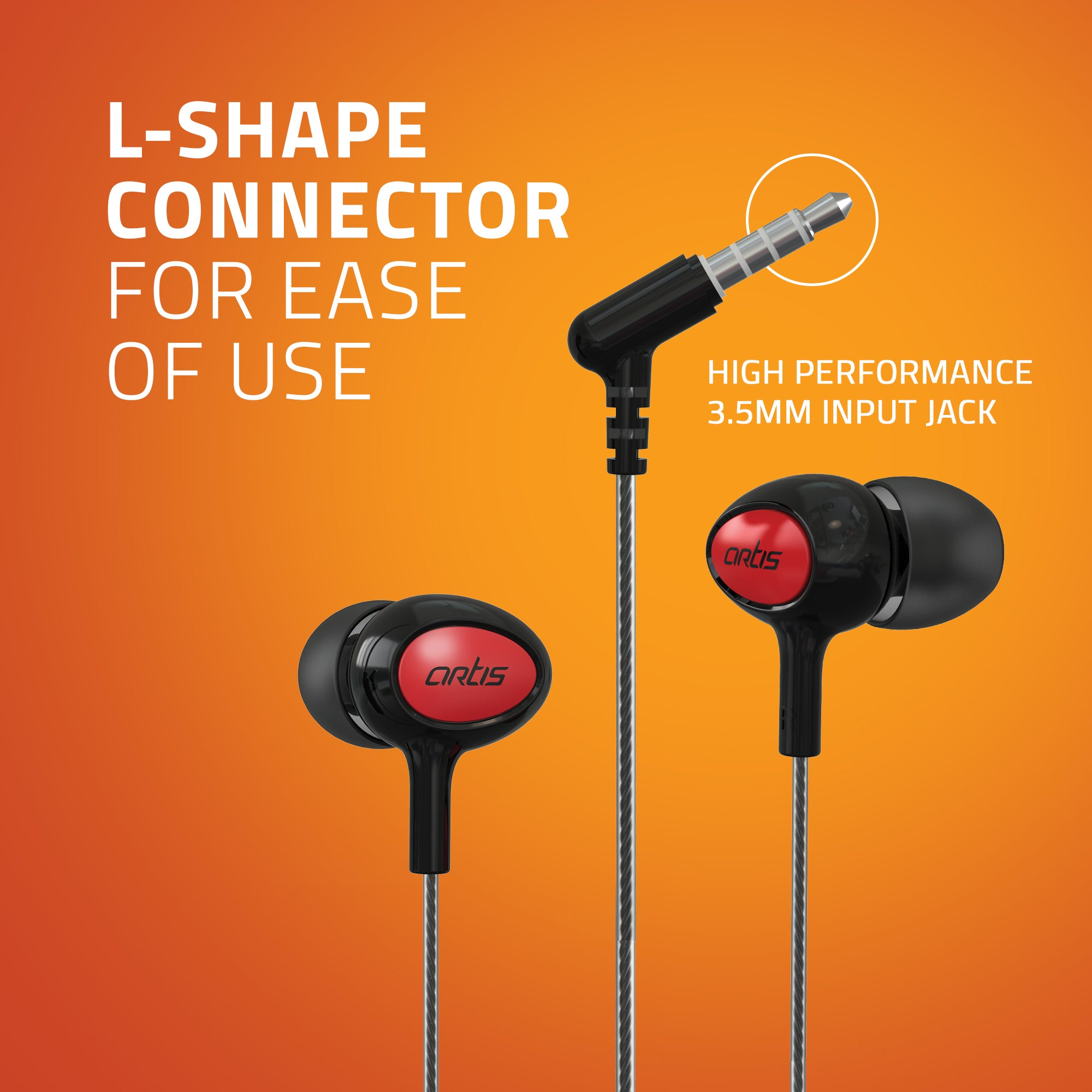 E400M Artis Earphones With Mic - L Shape Connector
