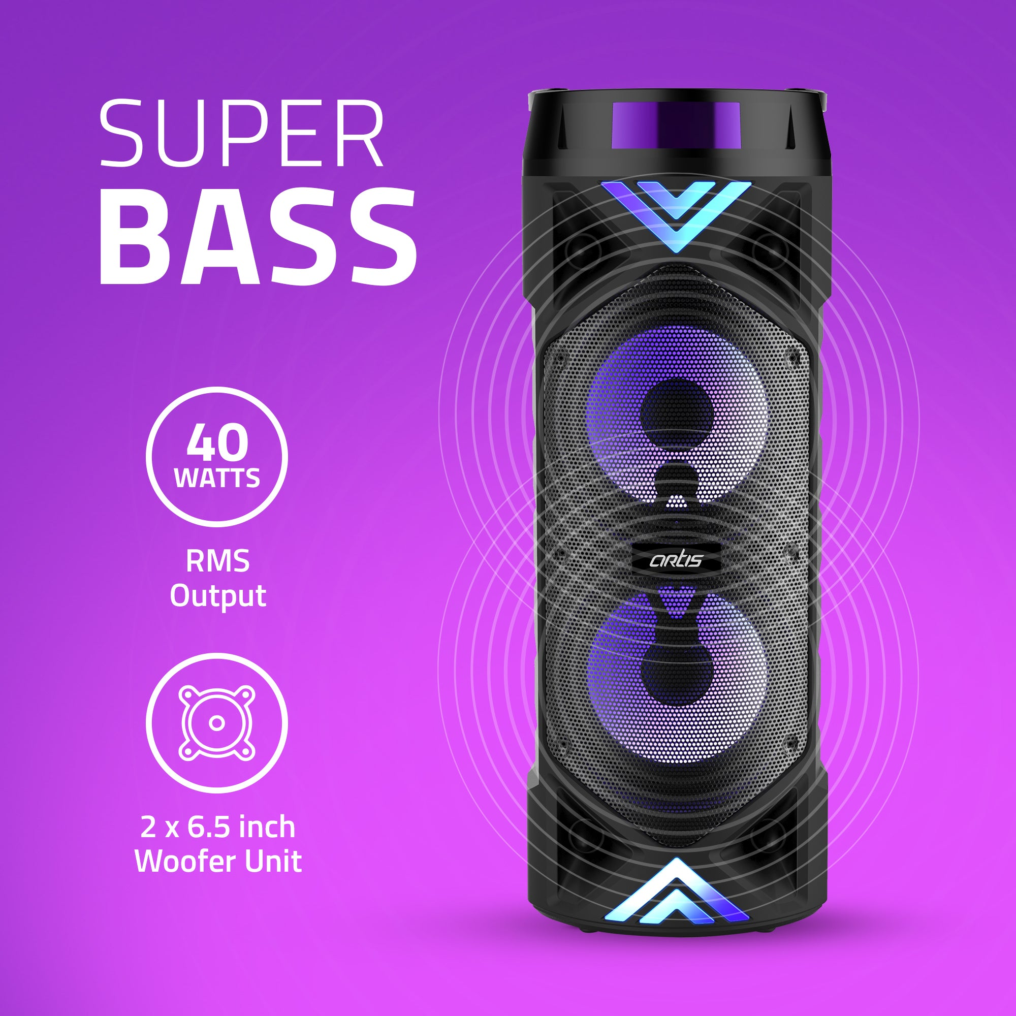 MS304 Artis Bluetooth Party Speaker with Super Bass