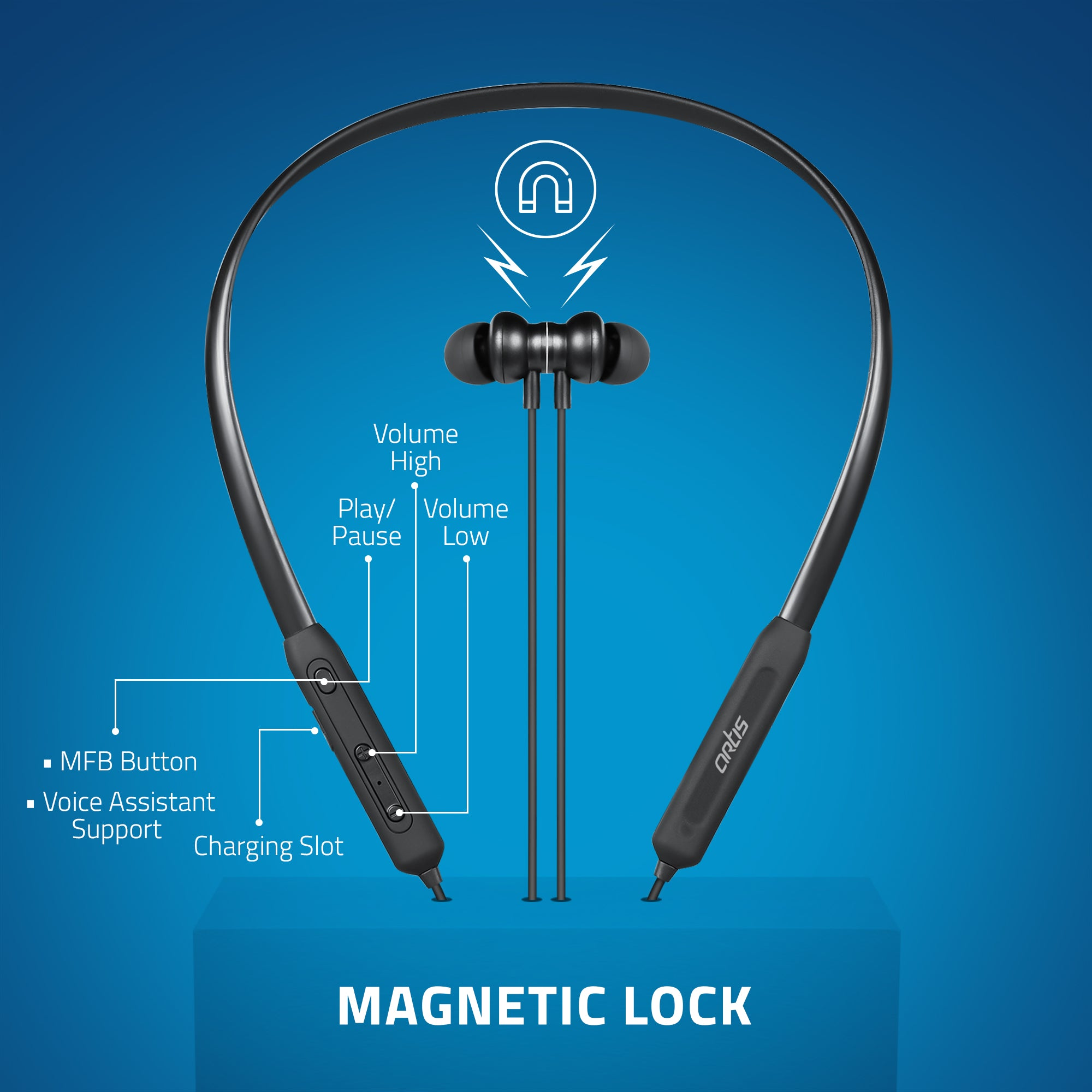 BE310M Artis Bluetooth Wireless Neckband Earphone with Magnetic Lock