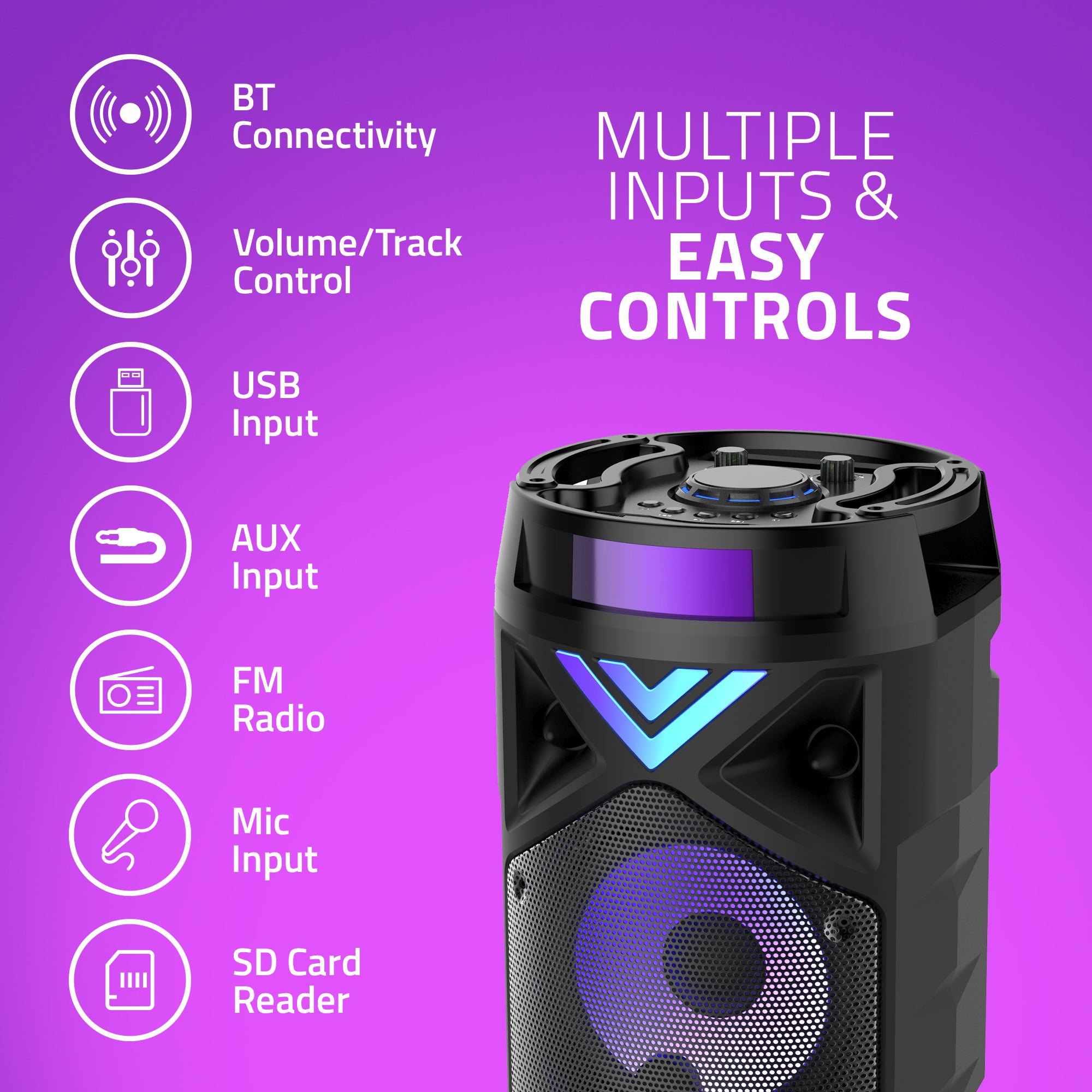 MS304 Artis Bluetooth Party Speaker with Multiple Inputs & Easy Controls