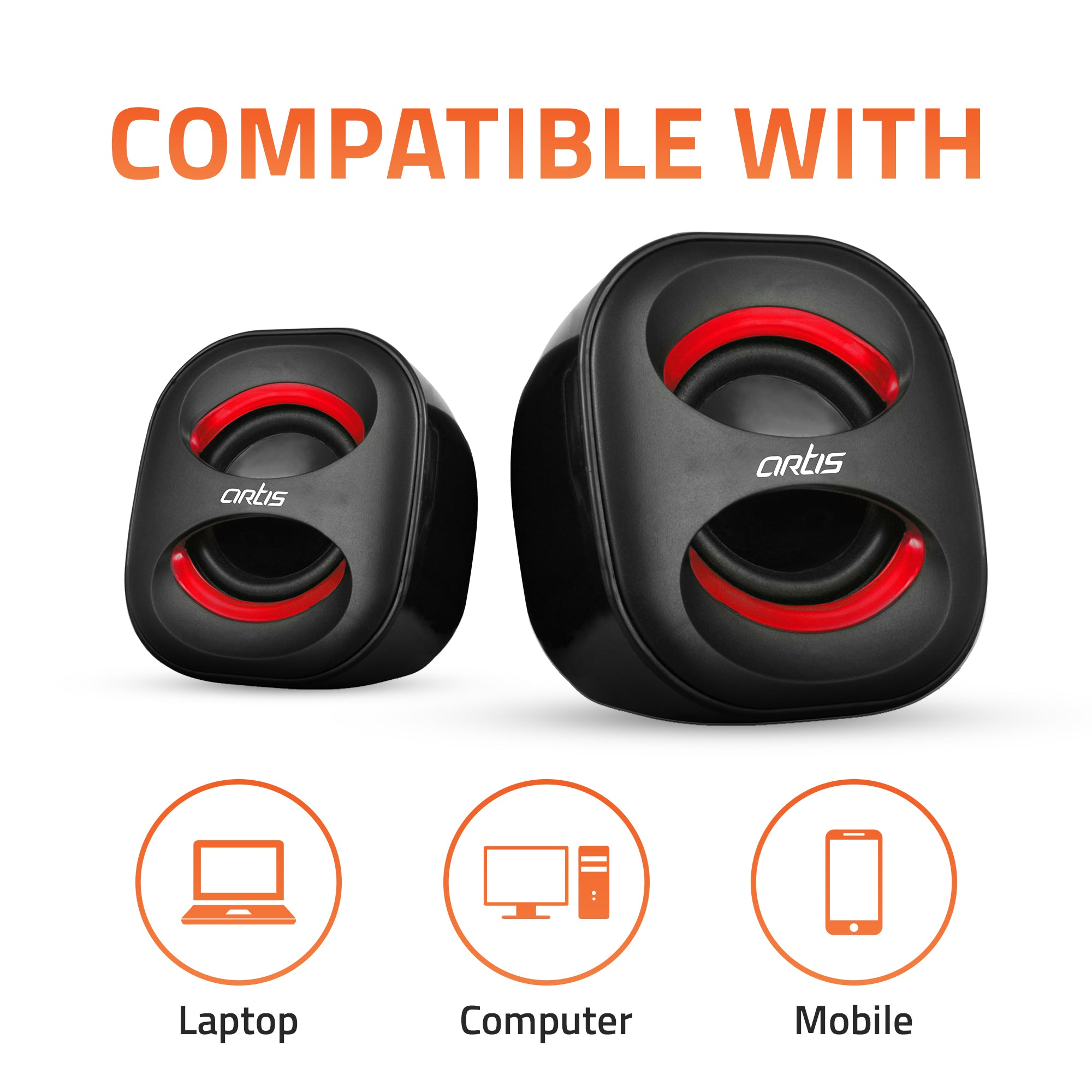 4W RMS Artis Mini 2.0 USB Speakers Compatible with Laptop, Computer & Mobile