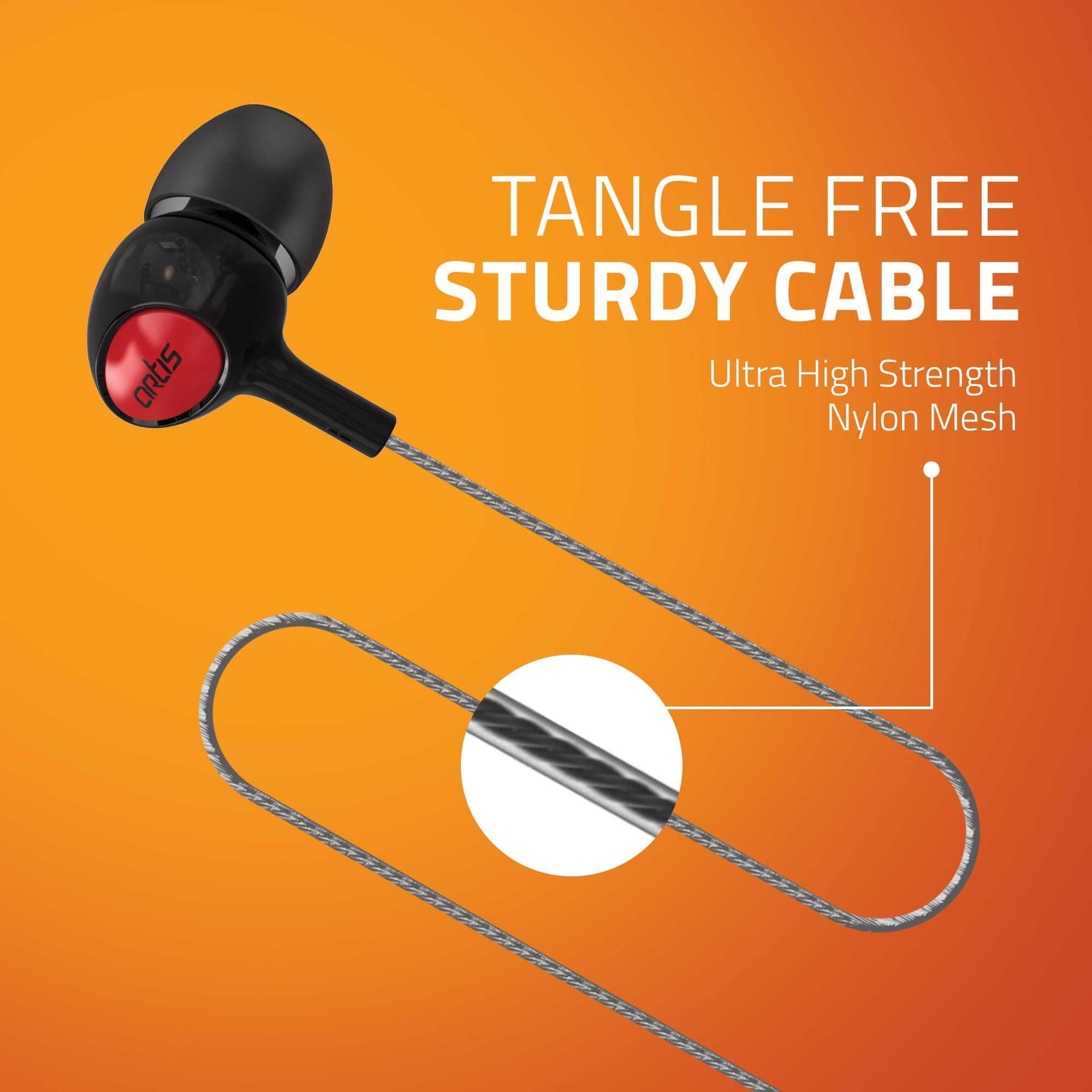 E400M Artis Earphones With Tangle Free Sturdy Cable