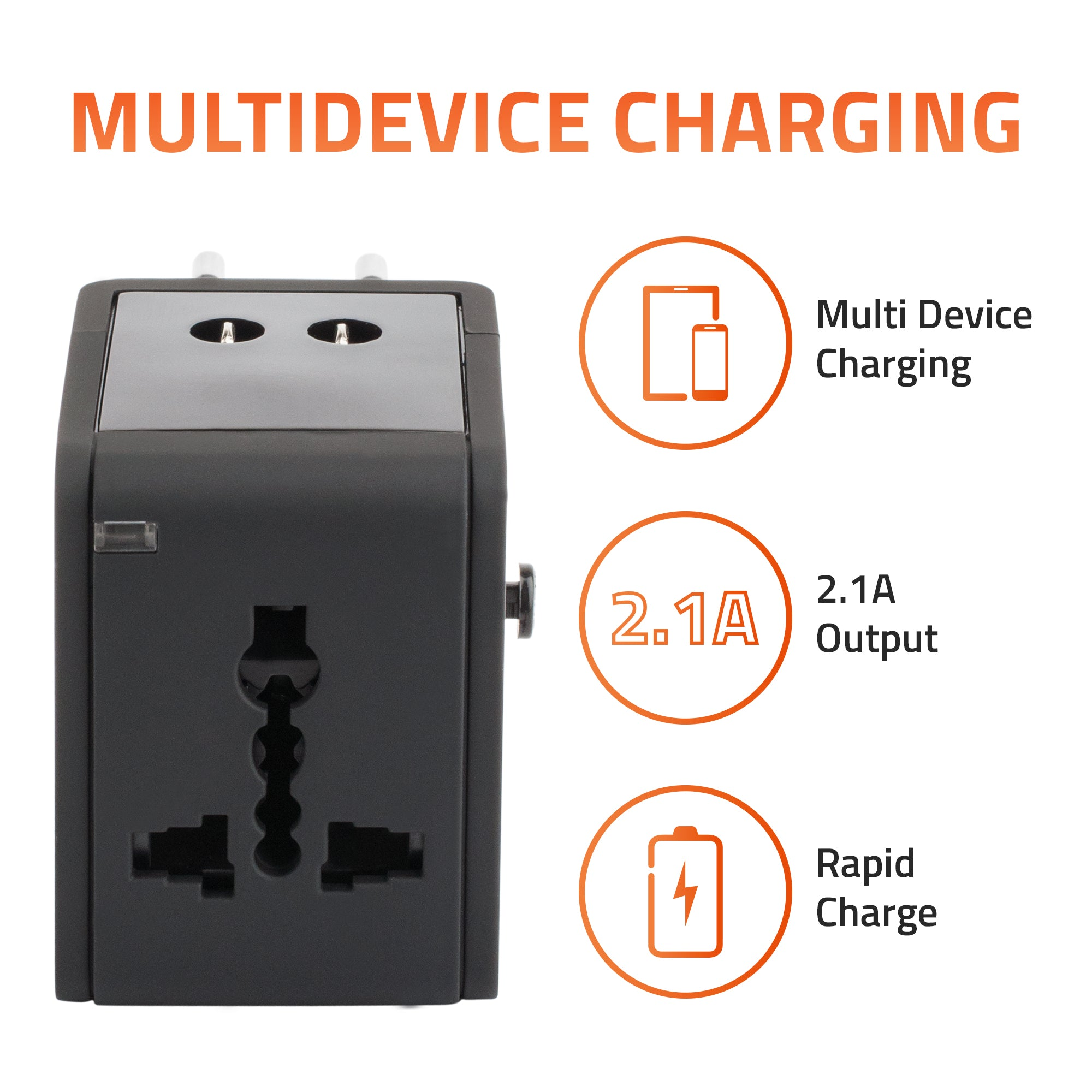 Universal Travel Adapter With 2.1A USB Charging - Artis UV200