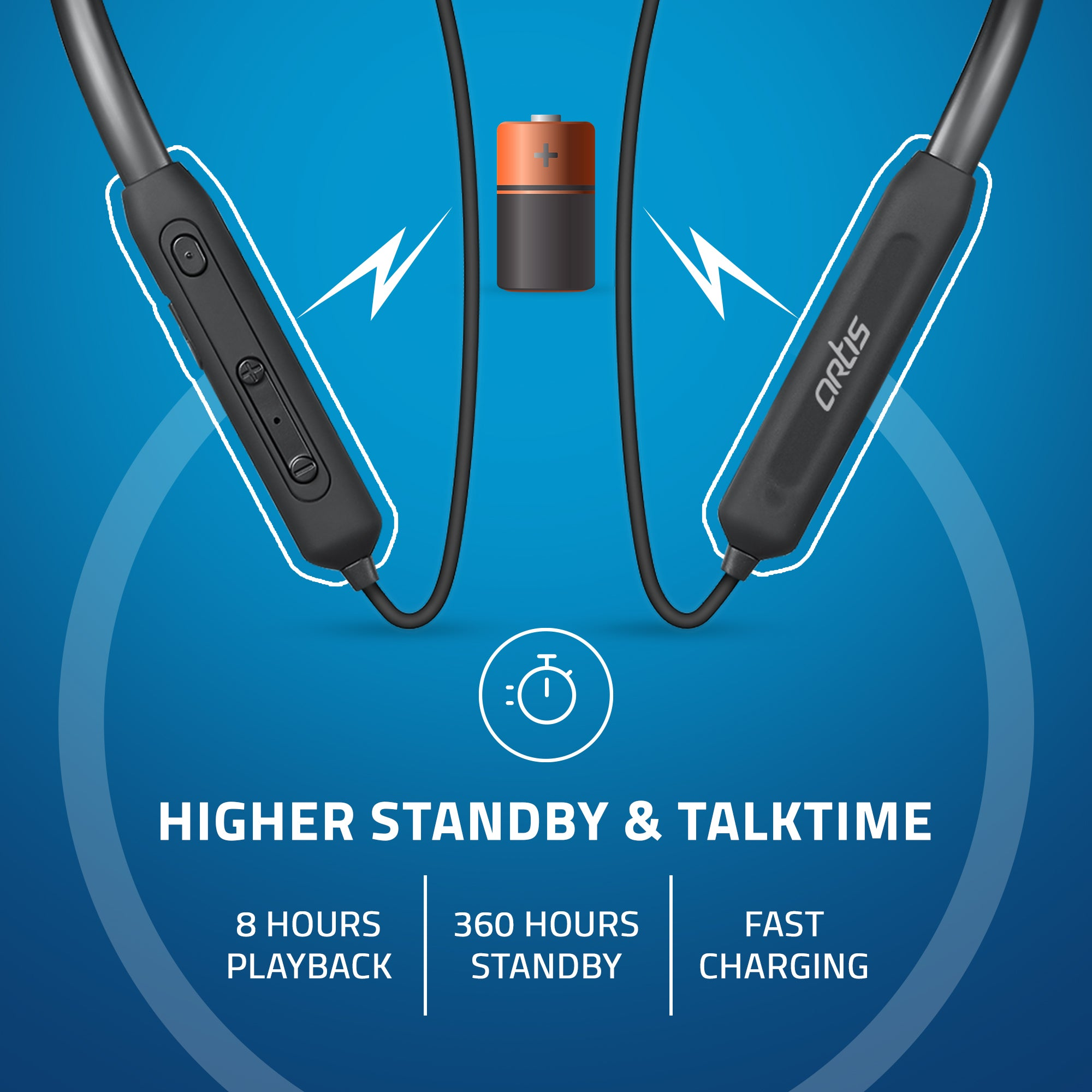 BE310M Artis Bluetooth Wireless Neckband Earphone with Higher Standby & Talktime
