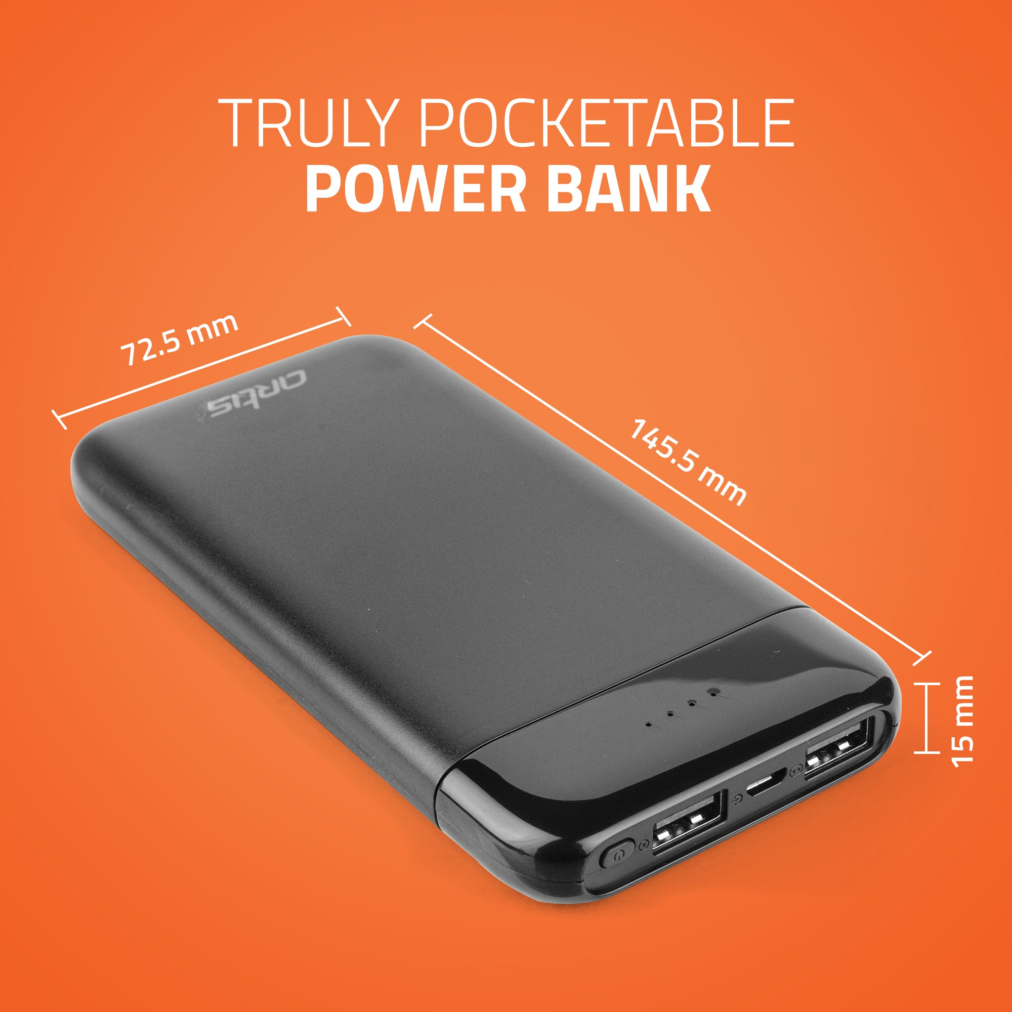 Artis 10000 mah Slim Power Bank (Black)