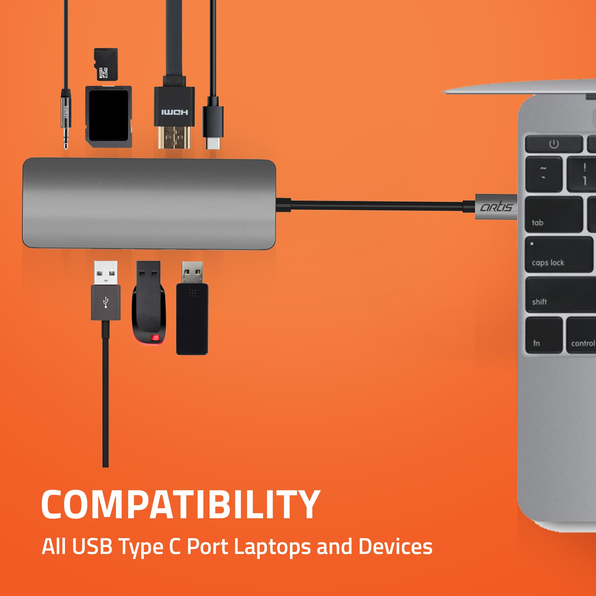 HB400 USB Type C 9 in 1 Hub