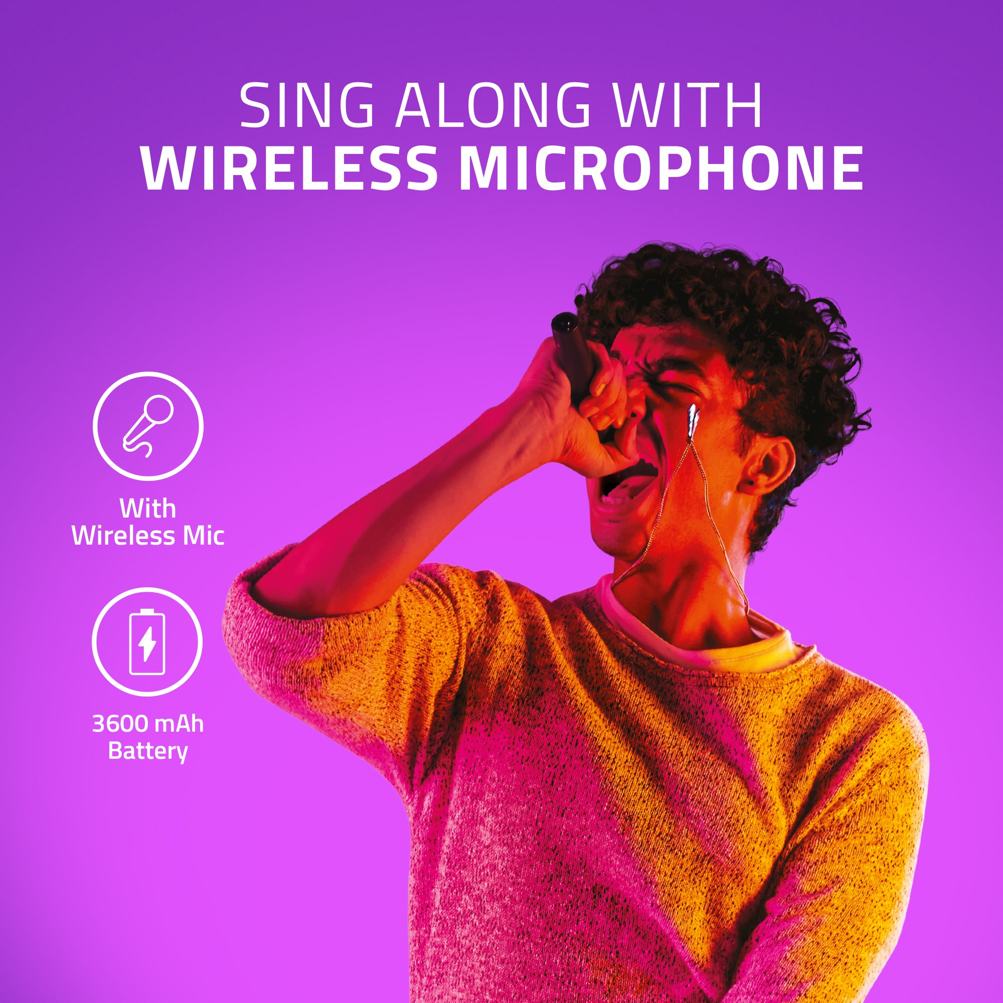 Sing along with Wireless Microphone with Artis MS304 Bluetooth Party Speaker