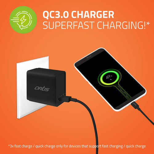 UQC100 QC3.0 Quick Wall Charger Adapter With Charging Cable (Black)