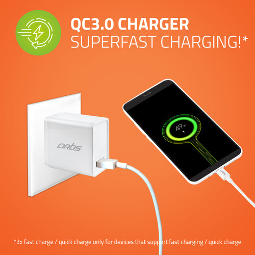 UQC100 QC3.0 Quick Wall Charger Adapter with Charging Cable