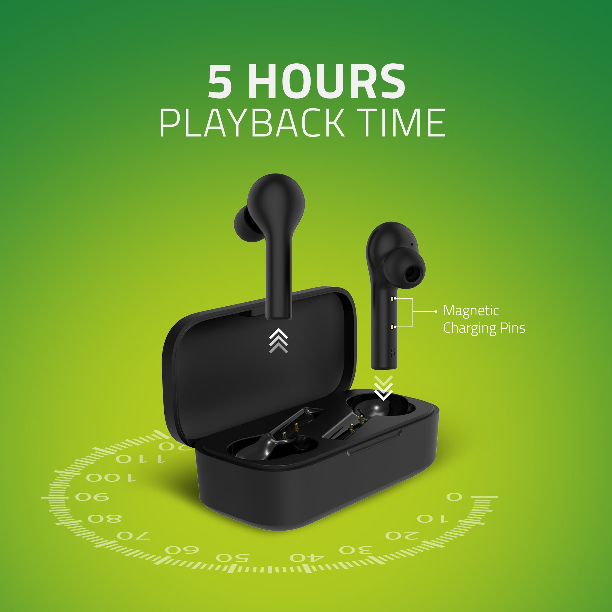 BE110M Artis TWS Earbuds - 5 Hours Playback Time