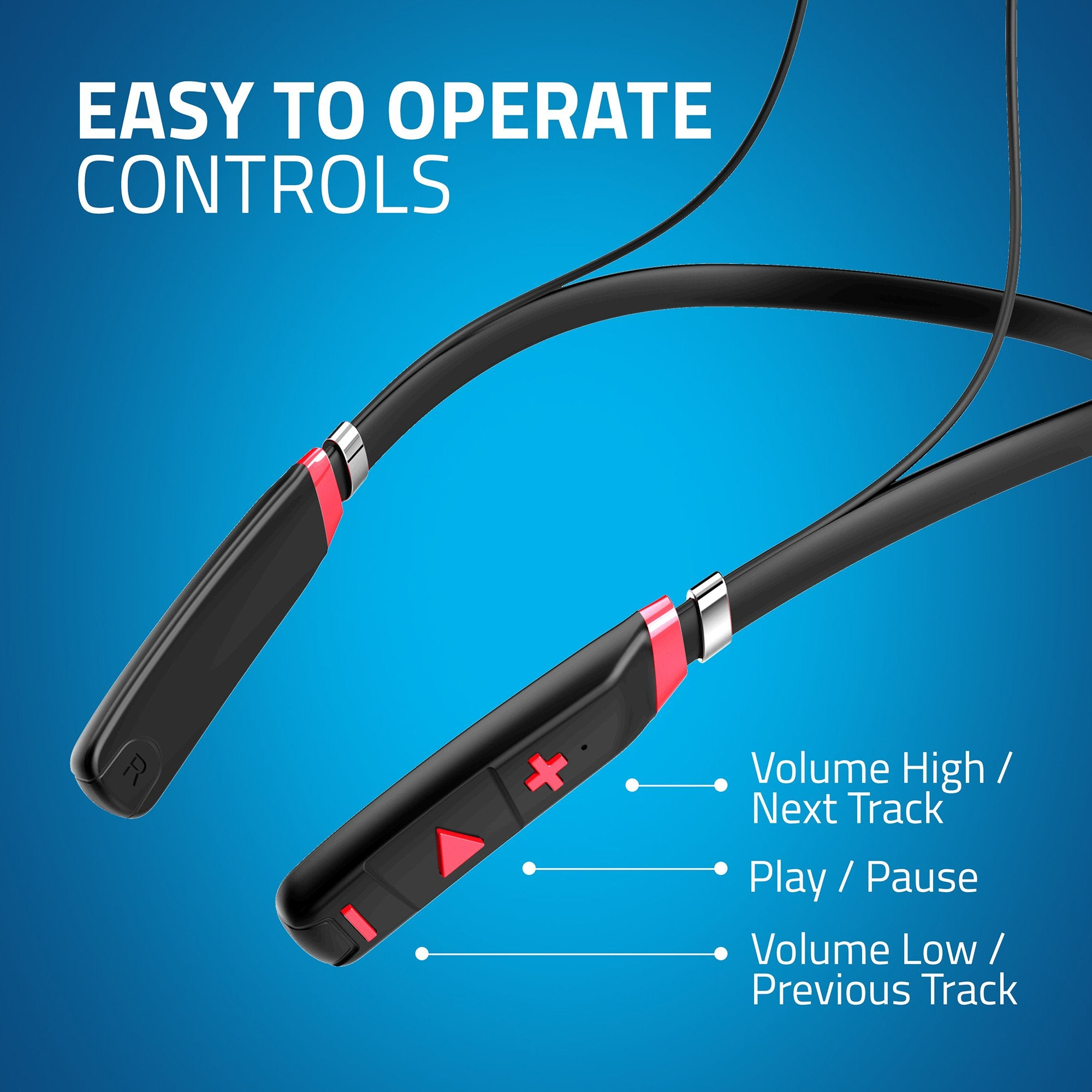 Artis BE910M Sports Bluetooth Wireless Neckband Earphone - Easy to Operate Controls