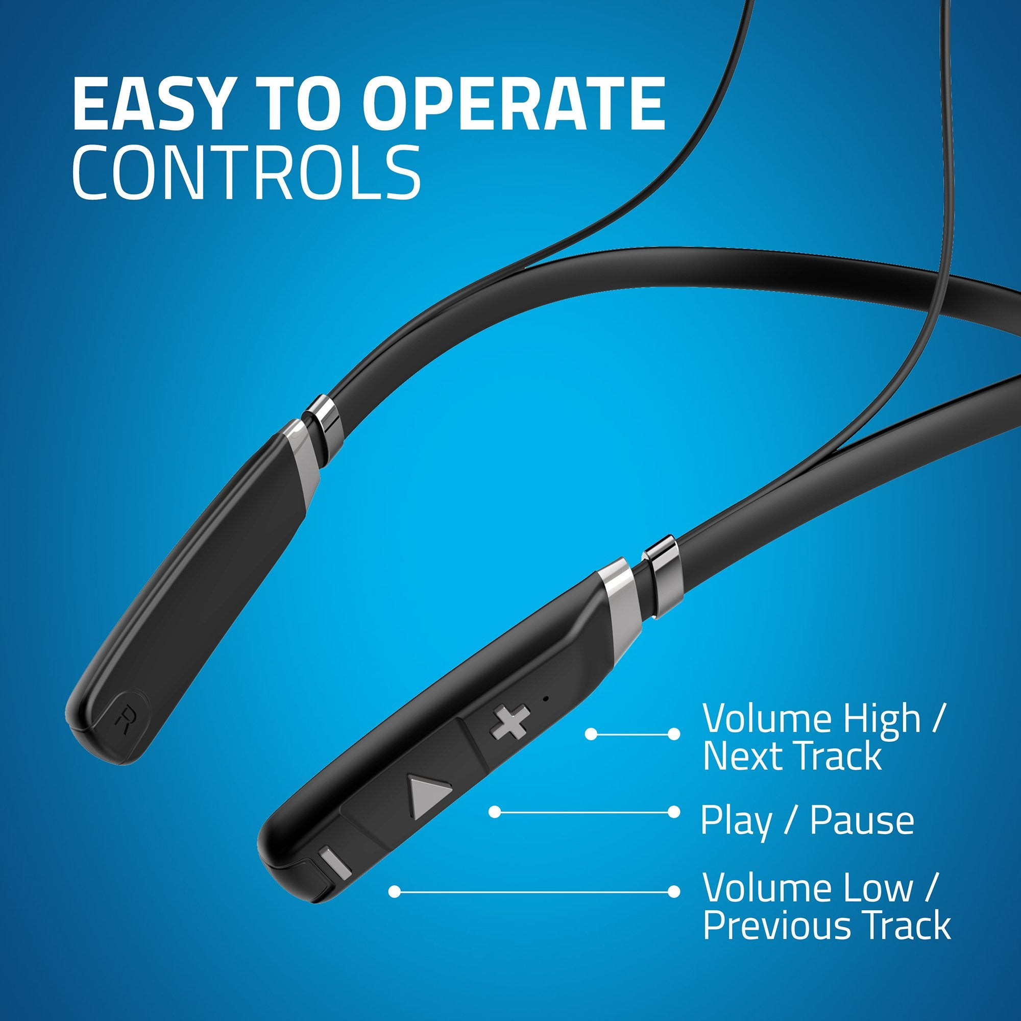 Artis BE910M Sports Bluetooth Wireless Neckband Earphone (Black) - Easy to Operate Controls