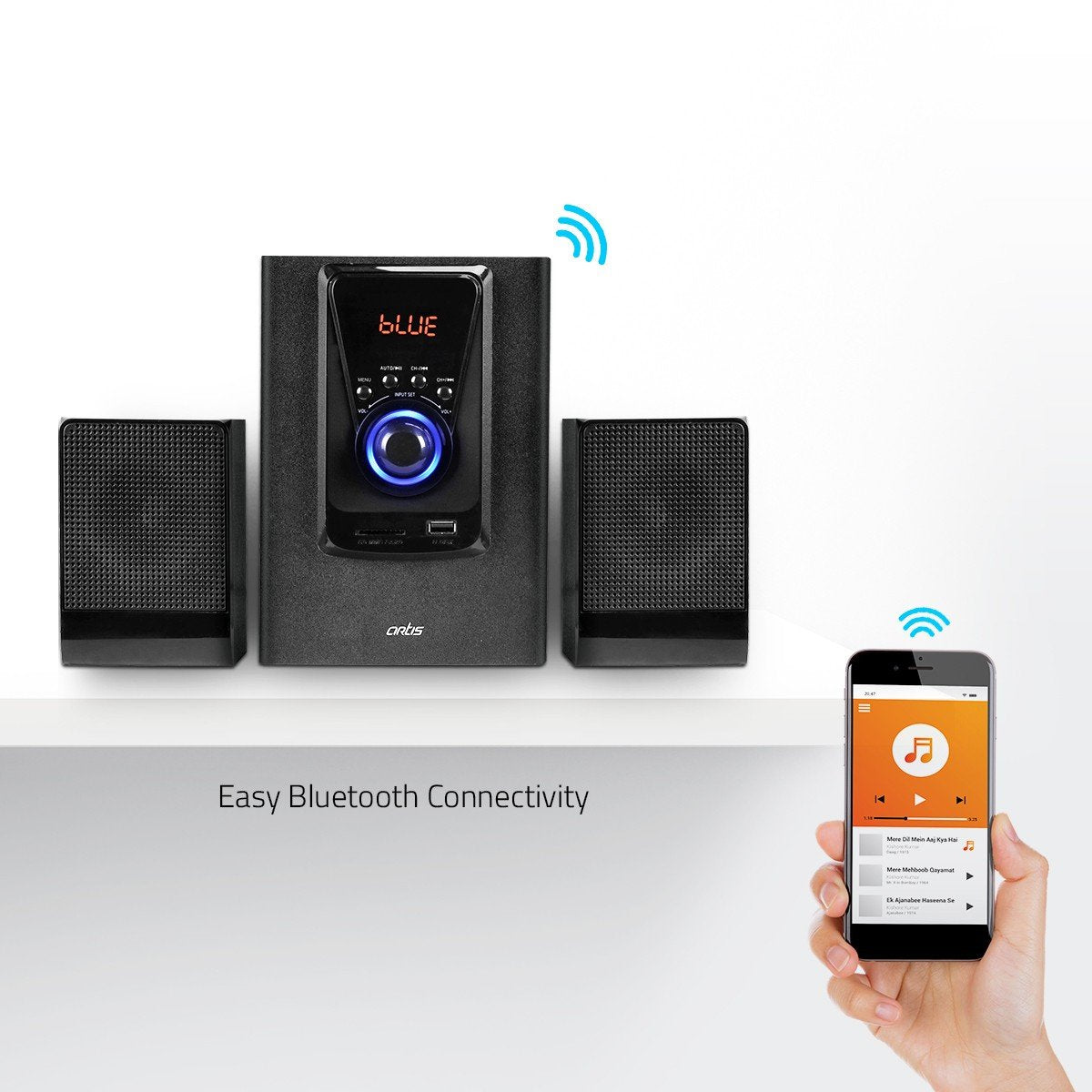 Artis MS201 2.1 Multimedia Speaker System Bluetooth Connectivity