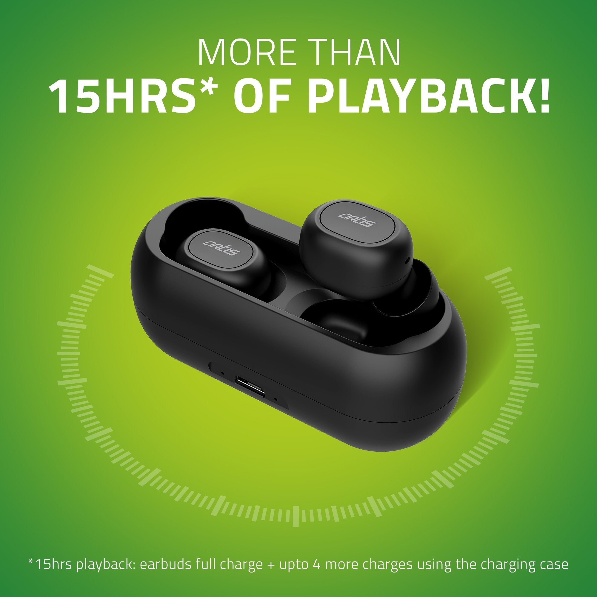 Artis BE810M TWS Earbuds - 15 hrs Payback