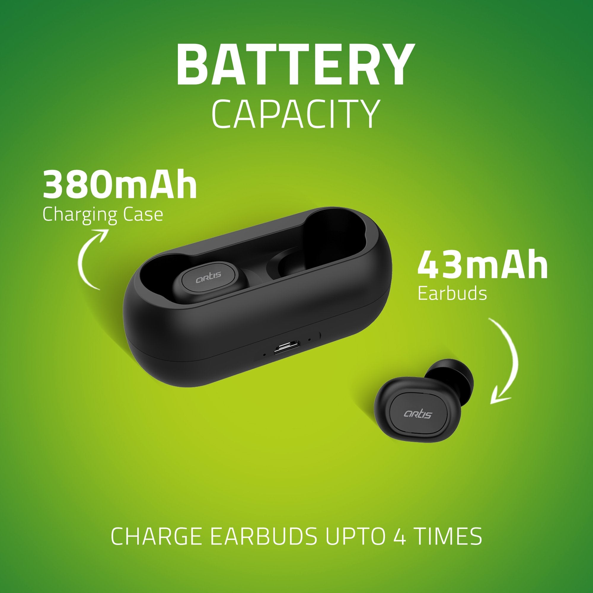 Artis BE810M TWS Earbuds - Battery