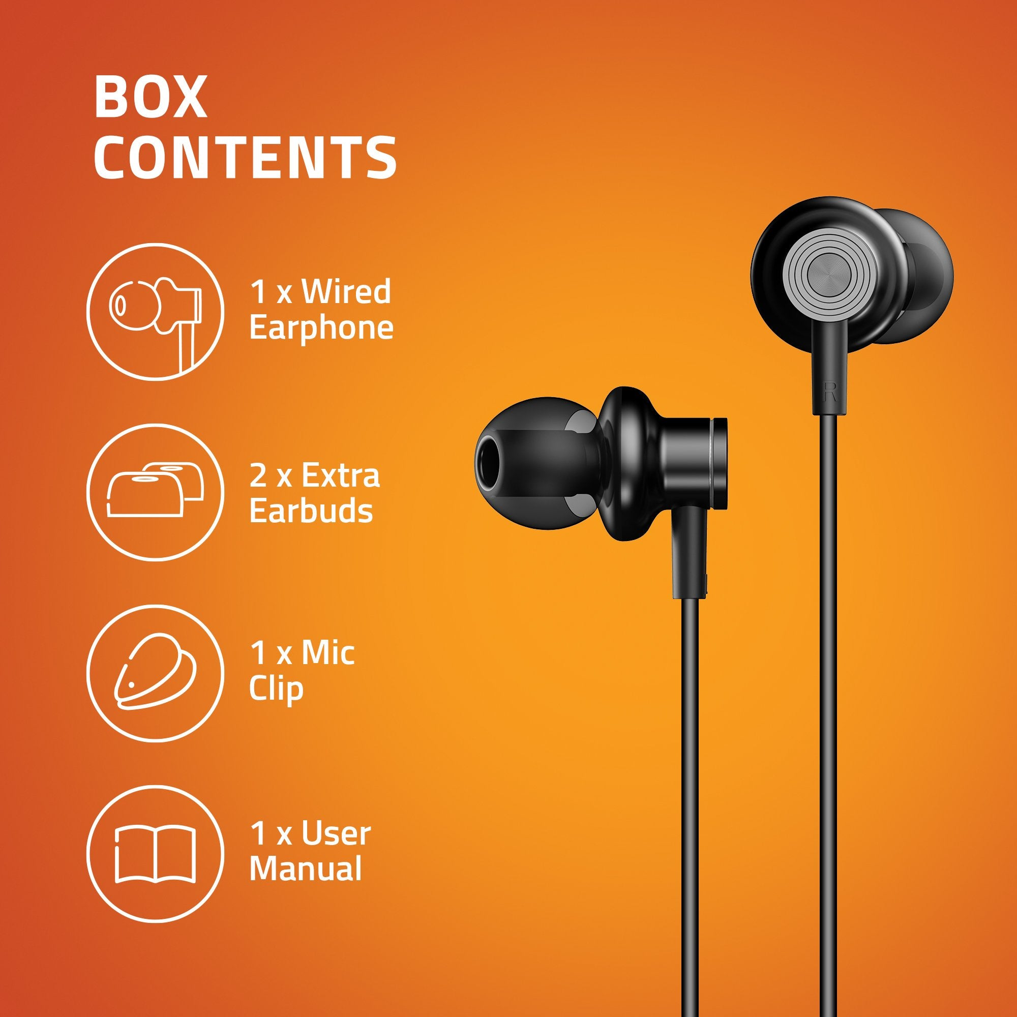 Artis E600M Earphones With Mic - Box Contents