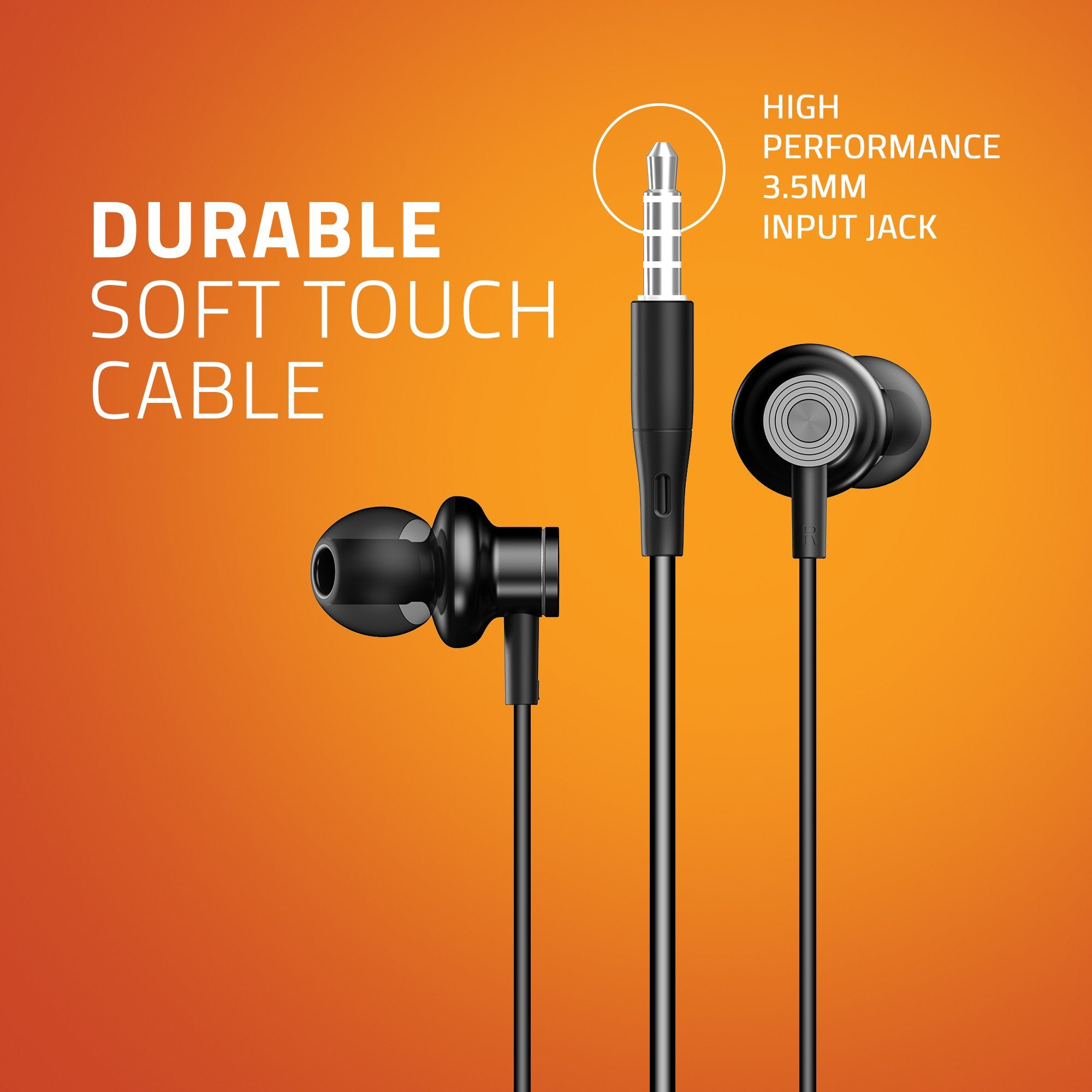Artis E600M Earphones With Mic - Durable Soft touch Cable