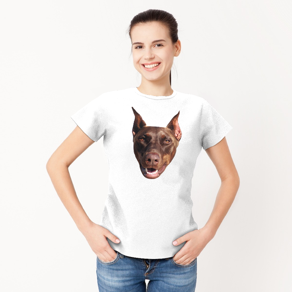 Custom My Face T-shirt Funny Dog Woman Pet Tee