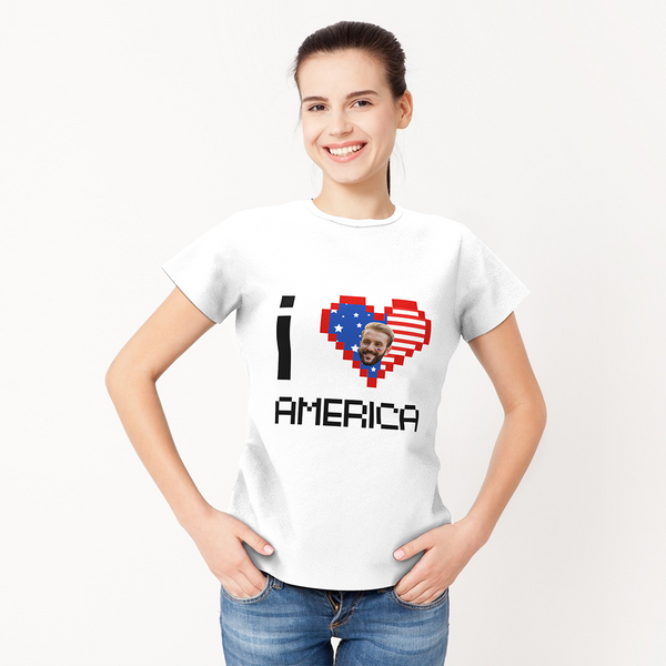Custom My Face Woman T-shirt I Love America Tee