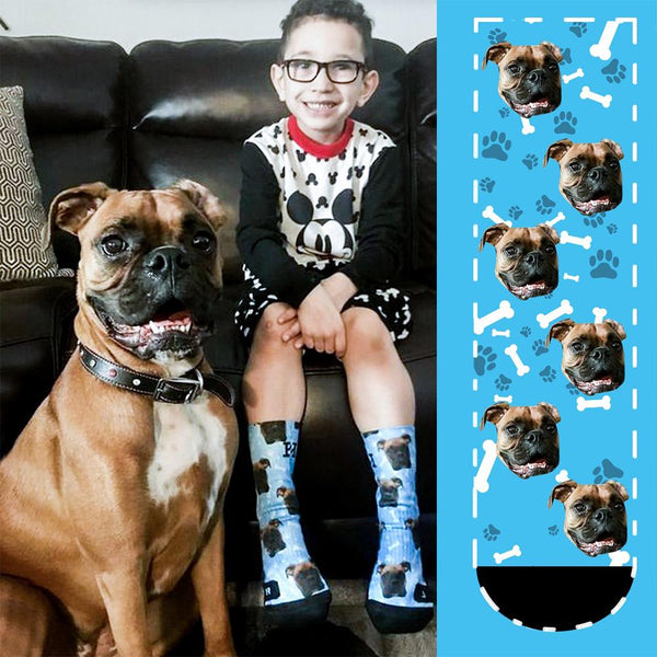 Custom Face Socks With Your Text-Dog