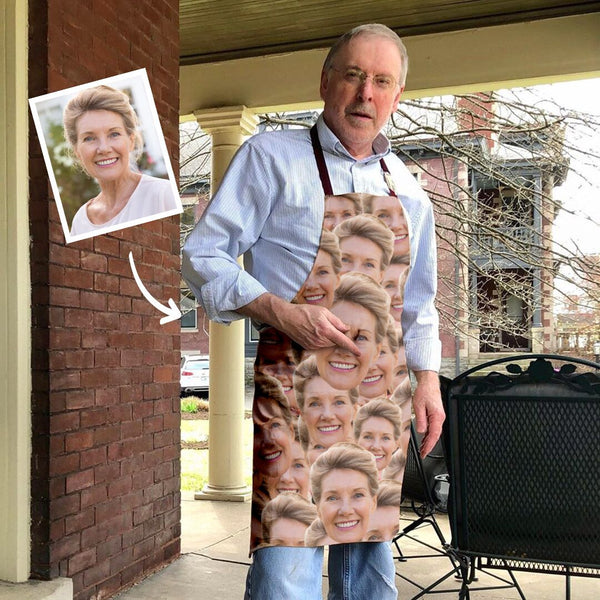 Custom Face Mash Apron For Mom