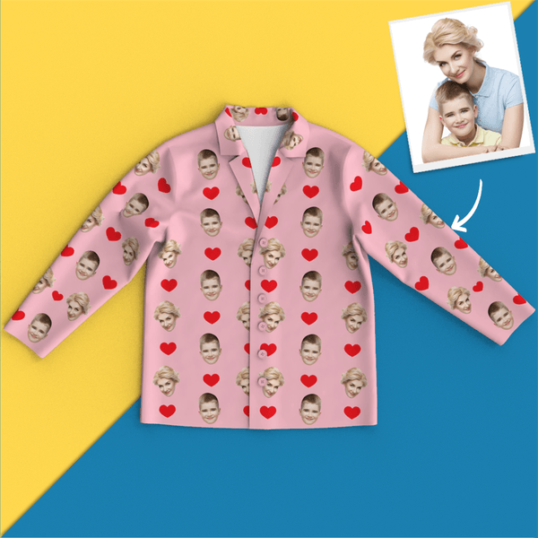 Custom Face Heart Pajamas Mother's Day Gift
