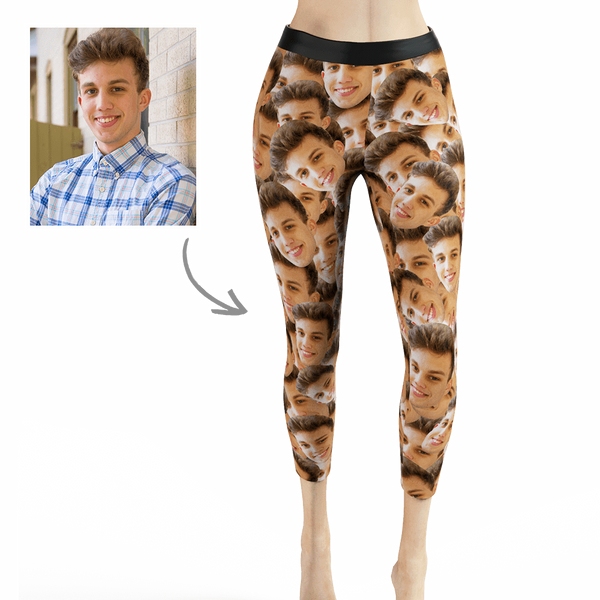 Custom Woman's Face Mash Leggings - Your Face on Custom Leggings,