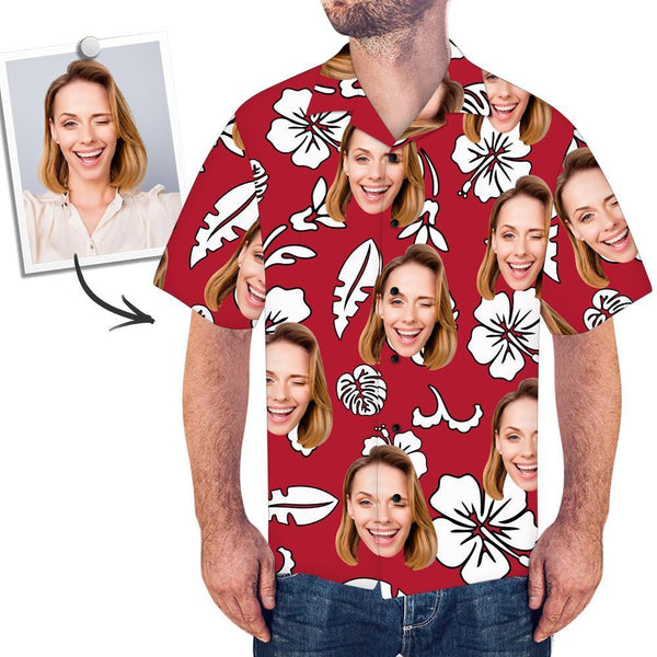 Custom Face Red Hawaiian Shirt Flowers And Leaves - facesockseur