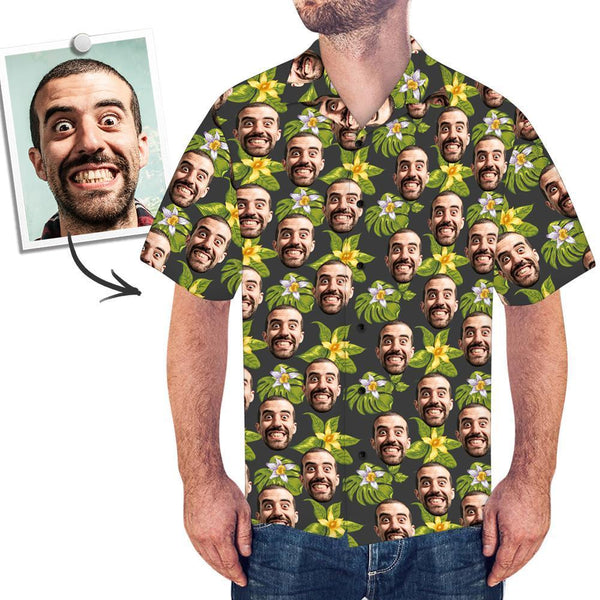 Custom Face Men's Hawaiian Shirt Green Flowers - facesockseur