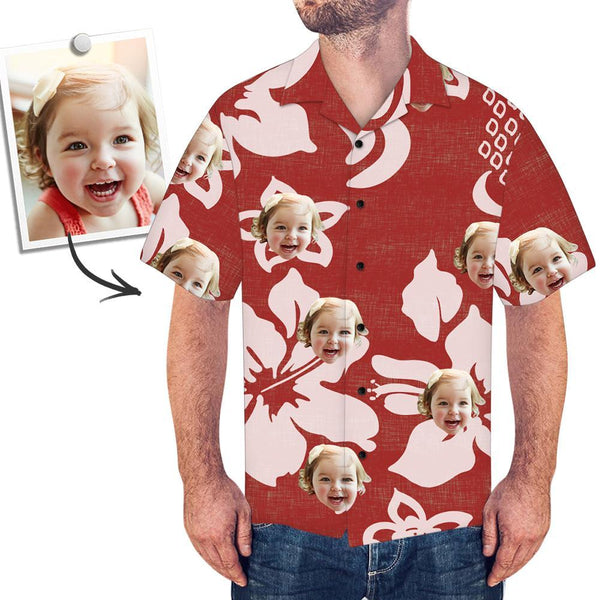 Custom Face All Over Print Red Hawaiian Shirt Petal - facesockseur