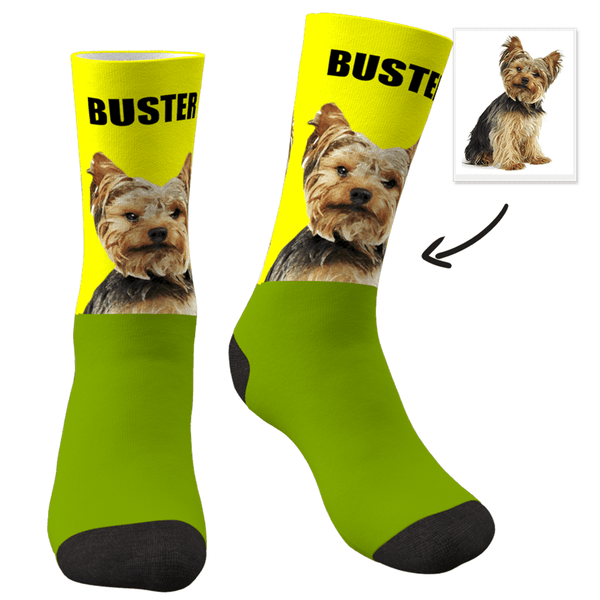 Custom Face Dog Socks Painted Art Portrait With Your Saying - FaceSocksEU
