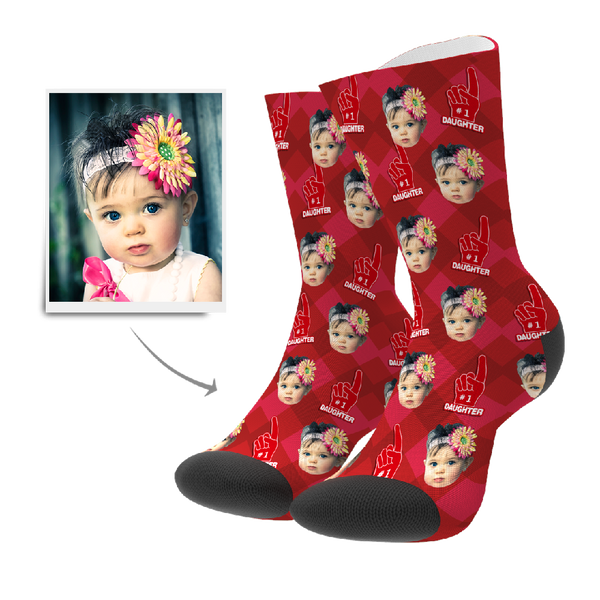 Custom #1 Daughter Fan Socks With Your Text - FaceSocksEU