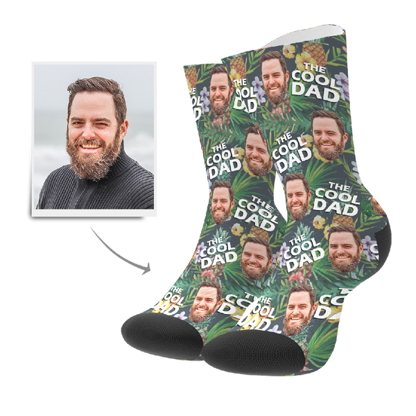Custom Cool Dad Tropical Socks With Your Text - FaceSocksEU