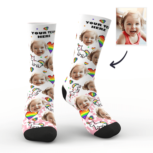 Custom Pride Socks (Pride Pixel) With Your Text - FaceSocksEU