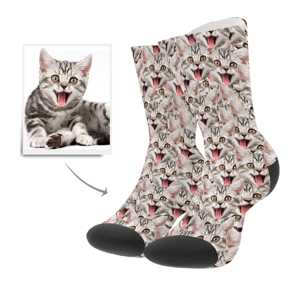 Custom Face Mash Cat Socks With Your Text - FaceSocksEU